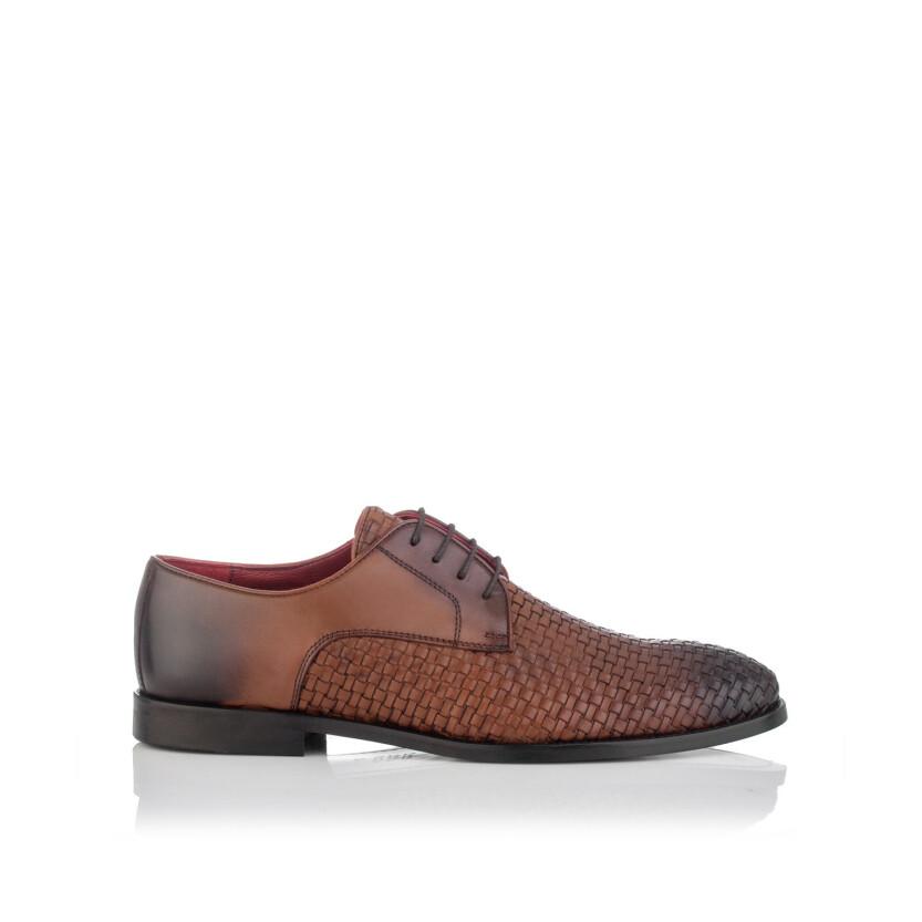 Chaussures Derby en Cuir Tissé pour Hommes Angelo Cognac