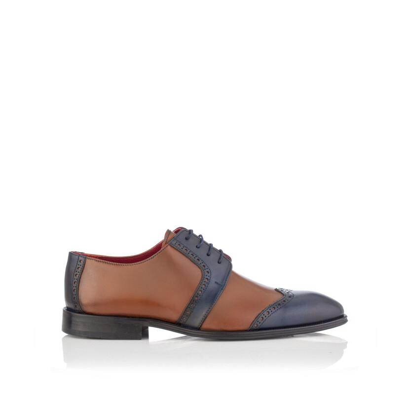Chaussures Derby pour Hommes Paolo Cognac & Bleu
