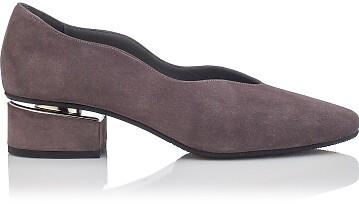 Chaussures à embout carré et talon bloqué Carina Daim Gris