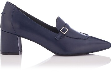 Chaussures pointues à talon large Grazia Bleu profond