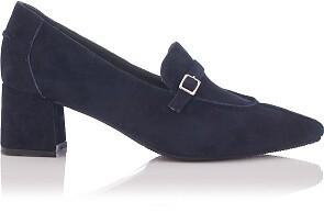 Chaussures pointues à talon large Grazia Daim Bleu profond