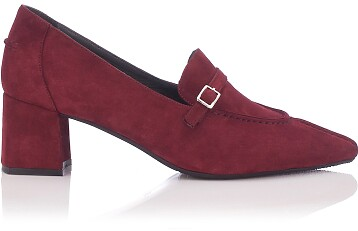 Chaussures pointues à talon large Grazia Daim Bordeaux