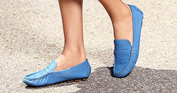 Blue women's mocassins