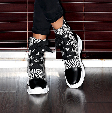 Black and White Chunky Sole Lace-Up Boots