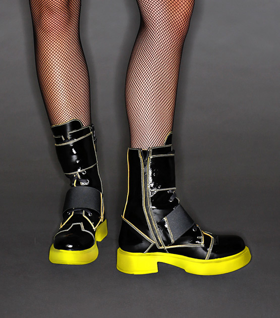 Yellow sole ankle boots