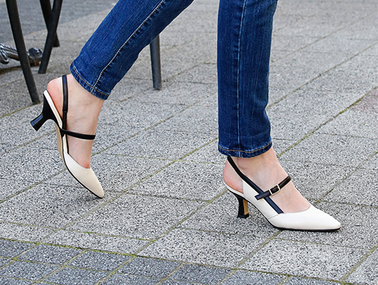White and black heels